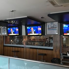Business with wall mounted television